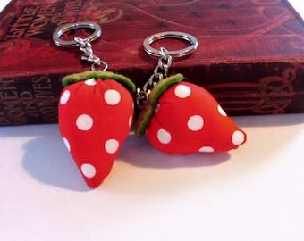 Strawberry keyrings, fabric key ring, key chain, key fob, cute keyring