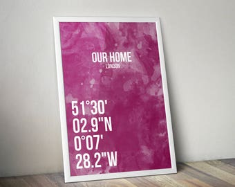 Personalized Coordinates Poster Print A3 Pink
