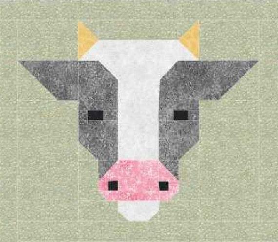 cow quilt block pattern  pdf  instant download  modern