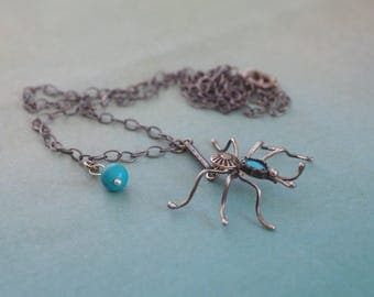 Vintage  Native American Spider Pendant Necklace - Sterling Silver & TURQUOISE