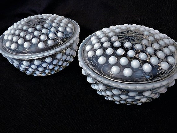 Anchor Hocking /Hobnail Glass / Powder Jars / Moonstone / Puff Box  / Vanity