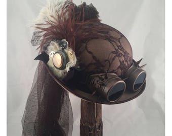 STEAMPUNK DERBY Felt Top Hat, Steampunk Shop,  Steampunk Accesories, Tan Hat, Brown, Clock Parts, Ostrich Feathers, Goggles