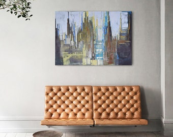 "Oil painting, canvas art, stretched, ""Perspective of the city 14"". Size 39,4/ 27,6 inches (100/70cm) Free Shipping!"
