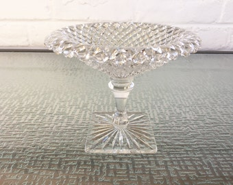 Westmoreland Glass Co English Hobnail Square Foot Compote