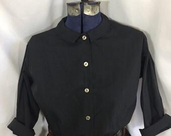 Back to Black Blouse - Vintage Black Blouse - Size Medium - 60's Blouse - Vintage Top - Vintage Blouse - Vintage Womens Shirt - Vintage Shir