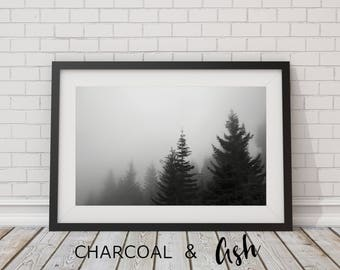 Morning Mist, Fog, Foggy, Foggy Morning, Spring Fog, Mountain Fog, Clouds, Mountain Top // FRAME NOT INCLUDED