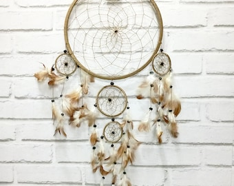 Free Fast Shipping/Light Brown Dream Catcher - Five Circles-One Oversize and Four Little Circle Dream Catcher -Indian Symbols