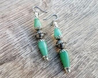 Ornamental- Green Aventurine Jade Filigree Tandem Teardrop Earrings