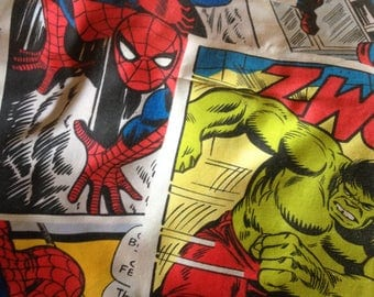 Vintage cotton fabric  Marvel comic book characters double duvet cover and two matching pillowcases