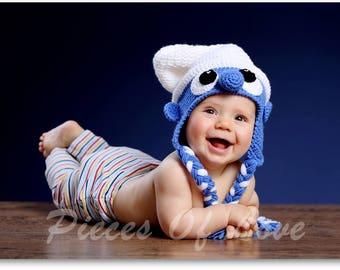 Smurf Hat Crochet Smurf hat Crochet Smurfette hat Crochet baby hat Crochet Toddler hat The Smurfs hat Baby Boy Hat Baby girl hat Funny baby