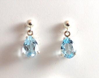 Blue Topaz Drop Earrings - Pear