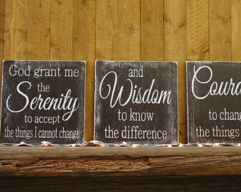 Wood Sign Serenity Prayer God Grant Me The Serenity Wallhanging Inspirational Wall Decor Religious Christian Wall Art Distressed Wood