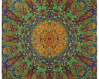 Limited Edition Psychedelic Sunburst Tapestry Gold & Green 60 x 90 3d wall hanging