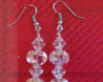 Oval and Bicone Crystal Beaded Earrings