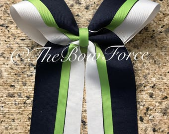 Navy White Lime Green Cheer/ Softball bow