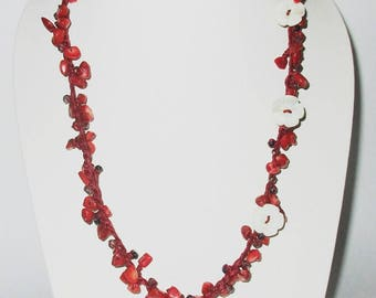 Coral Stone Necklace by Wax Cord
