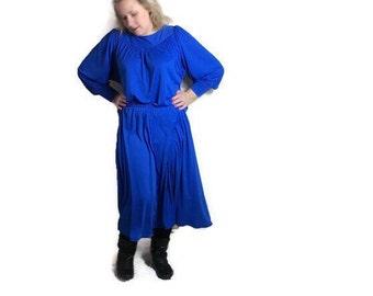 Cobalt blue 70s dress // electric blue disco dress // 1970s blue party dress // retro blue dress // 70s party dress UK 8 - 14