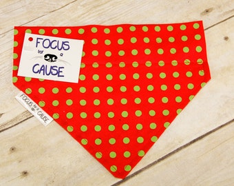 Double Stitched Dog Bandana, Red with Green Polka Dots, Slip Over the Collar Dog Bandana, Pet Bandanas, Focus for a Cause