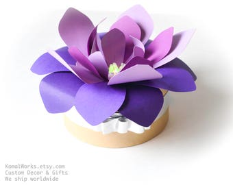 Paper flower centre piece for wedding and party decor, purple flower decor, LED flower centrepiece, party favour, wedding decor, giveaway