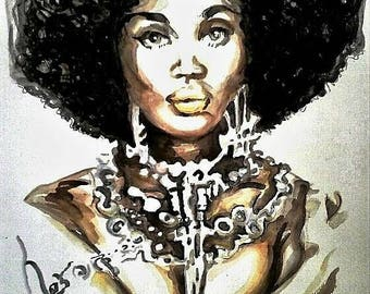 African American Woman Natural Hair Afro Jewelry Digital Print Digital Download Instant Download Illustration