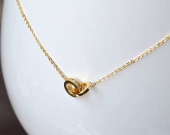 Gold handcuff necklace zirconium