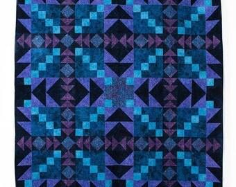 Aurora Borealis Purple Blue Jinny Beyer Batik Quilt Kit Fabric Quilt Kit 56 x 56