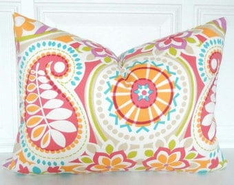 Floral Pillow Cover - Lumbar Pillow - 12 x 16 - Accent Pillow - Throw Pillow - Toss Pillow - Small Throw Pillow Turquoise Coral Green