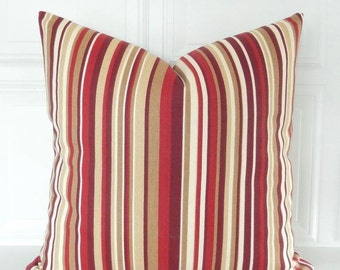 Red Stripe Pillow Cover - Red Throw Pillow - Red Tan Pillow - Red Striped Pillow - Striped Red Pillow - Tan Red Pillow - Red Cushion Cover