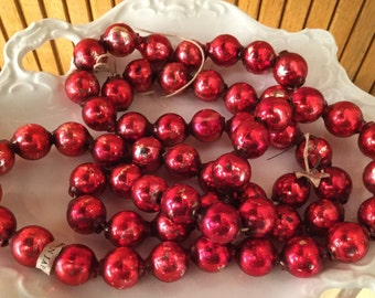 Vintage red Mercury glass bead garland