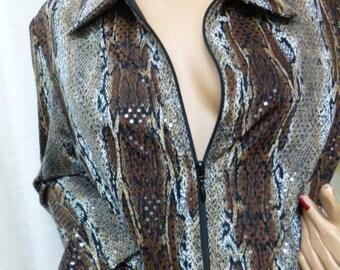 JOSEPH RIBKOFF Snake Print Jacket, Full Zipper Front, Lined, Sequin Sparkles, Large, Size 14