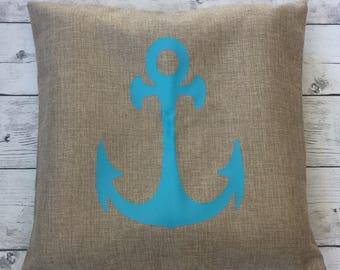Anchor pillow cover, canvas, beach decor, nautical decor, decorative pillow, living room