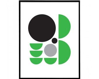 Green & Black - Two Colour - Minimal Geometric Abstract Print