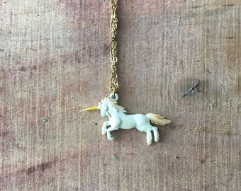 Vintage Unicorn Pendant Necklace -