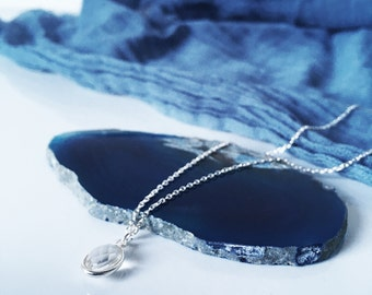 Beautiful clear crystal pendant necklace on silver chain with gift box