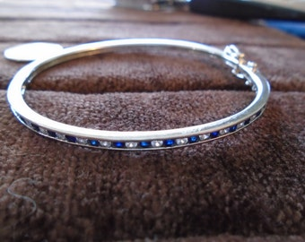 """Channel-Set Blue and White CZ Hinged Bangle 10.2g Sterling Silver Bracelet (7"""")"""