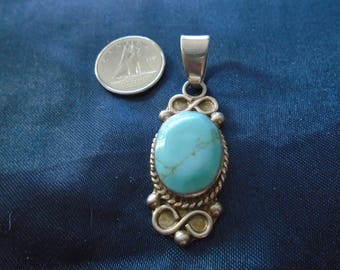 Braided Turquoise Scroll & Braided 9.4g Sterling Silver Pendant