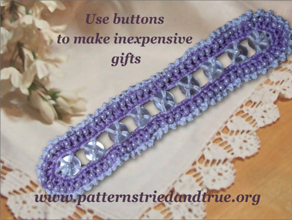 Bracelet crochet with buttons and beads, Crochet Pattern, Pet collar, Border Decoration for Shelves and Lamps