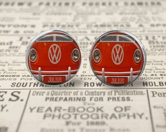 Vintage Orange VW Bus earrings or ring