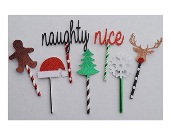 Christmas Party Cupcake Toppers ; Christmas Cake Topper ; Paper Straws ; Christmas Decor ; Holiday Party Decoration ; Rudolph ; Gingerbread