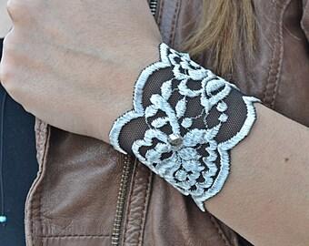 Black Bracelets, Lace Wristbands, Grey Wristband, Lace Bracelets, Stretch Lace  Bracelet, Bracelets, Womens Bracelet, Bracelet For Girls