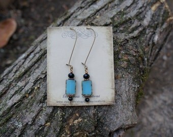 Turquoise Earrings with Black beads
