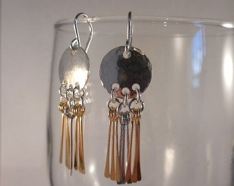 Hammered Silver Earrings with Dangly Silver and Brass Drops and Sterling Silver Ear Wires