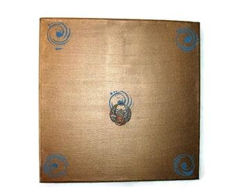 Original Mixed Media Scarab Art Acrylic Original 12x12 Textural Mixed Media Original on canvas Original painting patina bronze painting