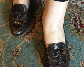 Vintage Ralph Lauren Real Alligator Womens Loafers Size 10 B