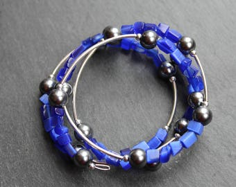 "Twisted bracelet, wire memory ""blue scales."
