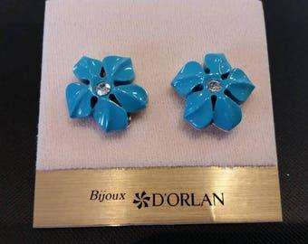 D'Orlan Turquoise resin pierced earring.  Centre Stone handset Swarovski crystal.  Rhodium plated NEW
