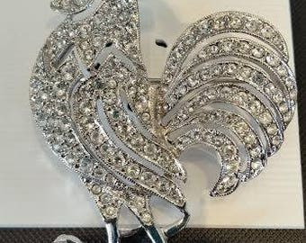Nina Ricci Rooster - handset with Swarovski crystals in a rhodium setting
