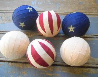 Americana Rag Balls, Americana Bowl Filler, Rag Ball Ornies, Americana Decor, Primitive Americana Decor, Bowl Fillers, July 4th