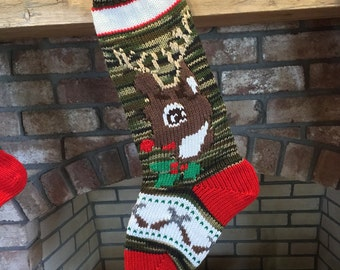 Hand Knit Camouflage Deerhead Christmas Stockings