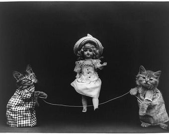 Cute Photo, Creepy Doll, Kittens Cats Jumping Rope, late 1800's Photo Print